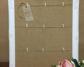 Framed Burlap Wedding Guest Table Planner Board - Peg Board / Bulletin Board / Message Board / Photo Peg Board / Jute Memo Board