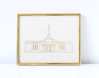 Fresno Temple - Hand Drawn - REAL FOIL - Gold Foil Print - LDS - Illustration - California - Mormon - Home Decor - Temple - Fresno