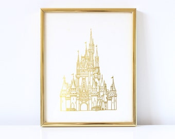Disney Castle Inspired - Disney Inspired - Princess - Castle - Real Foil - Illustrated - Gold Foil - Hand Drawn - Decor - Print - Foil Print