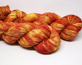 Blood Orange - Crayon sock fingering weight 85/15 superwash merino nylon NEP hand dyed semi-solid tonal yarn