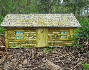 """Log Cabin Toy """"Marx"""" Metal Dollhouse Vintage 50s """"Fort Apache"""" Western Frontier """"Crooked Horseshoe"""" Collectible Rustic Art Mid Century Gift"""