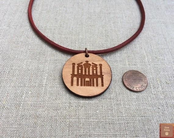 The Treasury Al-Khazneh Petra Kadesh-Barnea Carved Choker Pendant—Recycled Cherry Wood & Chemical-Free Wine-Red Leather