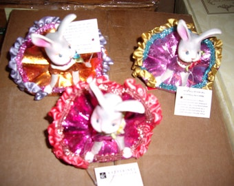 Katherine's Collection Three Tumbling Bunny Ornaments