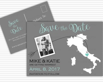 State, Save the Date - Photo Map, Printable Save the Date Card, Save the Date Postcard, Destination Wedding, Any State or Country - 2