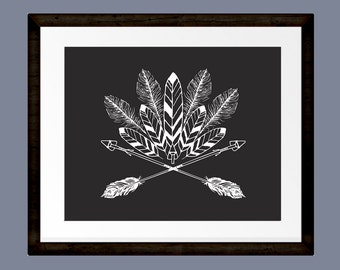 """Tribal Arrows and Feather Print, Black and white 8""""x10"""" print for INSTANT DOWNLOAD"""