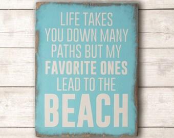 Beach Wood Sign; Beach Wall Art; Beach Home Decor; Paths to the Beach Wood Sign