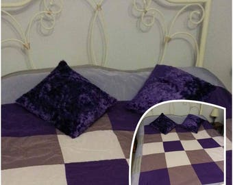 Purple Patchwork Bedthrow Set