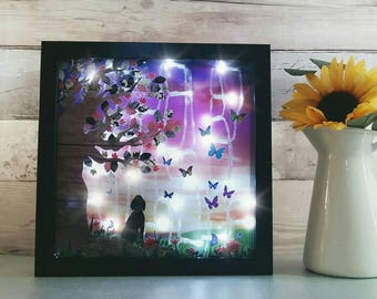 Pet Memorial frame, Pet lightbox, fur baby home decor, memory lights for dog, cats memorial light box, furry friends gift, mourning comforts
