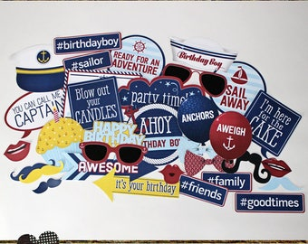 Photo Booth Props, NAUTICAL BIRTHDAY BOY, printed, cut, and ready to ship, red, blue, navy, white, yellow, birthday party