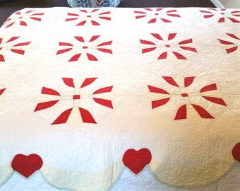 Vintage Tulips and Hearts Hand Quilted Twin Size