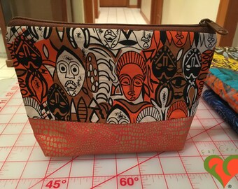 Designer Cosmetic/Jewelry Bag. Made with African Inspired Fabrics. One of a Kind.