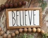 Believe, Handmade Wood Si...