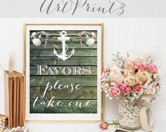 Favors Please Take One Wedding Sign Printable, Nautical Wedding Favors Sign Printable, Wood Favors Sign, Anchor Favors Bridal Shower Sign