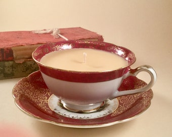 Soy candle hand poured in a Regina tea cup