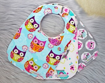 Baby Bibs Set of 3, or Single Bib, Baby Girl Gift, Baby Shower Gift, New Mums - Owls