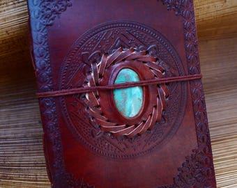 "Handmade Camel Leather Notebook with Stone ( Chrysocolla, Obsidian, Lapislazuli, Labradorite, Tiger's Eye), ""Celtic Circle"",  5x7 Inches"