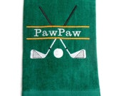 golf towel dad, towel for him, golf towel, grandpa gift, dad golf, customize name, embroidered towel, pop golf, paw paw towel, dad or daddy