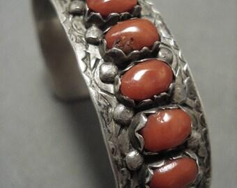 Rare Vintage Zuni 'Domed Coral' Silver Cloud Sterling Bracelet