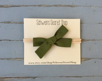 Olive green baby bow, hand tied bow, baby girl headband, fabric baby bow, nylon headband, baby headband, baby hair bow, infant headband
