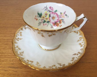 Vintage Aynsley Tea Cup and Saucer, White and Gold Teacup and Saucer, Pink Floral Bone China, Garden Tea Party, Wedding Bridal Gift