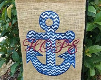 Burlap Garden Flag, Anchor, Simply Southern