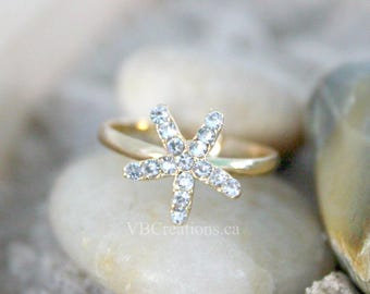 Starfish Ring - Star Ring - Starfish Jewelry - Ajustable Ring - Gold Ring - Rhinestone - Star Jewelry - Dainty Ring - Mother Gift - Sister