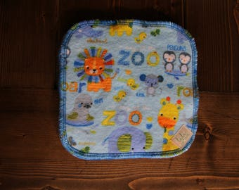5 Baby Cloth Wipes, Bamboo Terry, Cotton Flannel, Blue, Zoo Animals, Penguins, Lions, Giraffes, Elephants, Seals