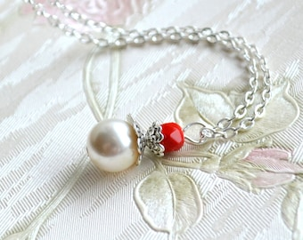 Red wedding jewelry Red necklace Red bridesmaid necklace Will You be my Bridesmaid Jewelry Bridesmaid gift Pearl necklace Proposal gift