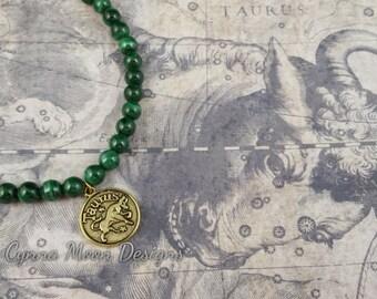 Zodiac Jewelry - Taurus the Bull - Malachite