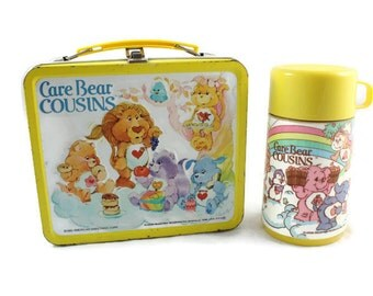 1985 Care Bear Cousins Metal Lunch Box with Thermos Vintage
