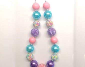 Purple Yellow Pink Mint Easter Spring Birthday Chunky Bubblegum Beaded Toddler Girls Necklace