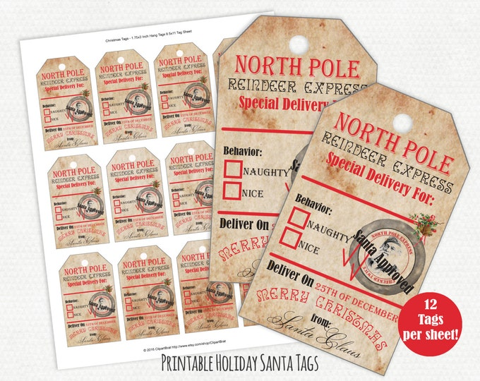 PRINTABLE CHRISTMAS TAGS Christmas Gift Tag Sheet From Santa North Pole Reindeer Express Holiday Labels Naughty or Nice Vintage Santa Tags