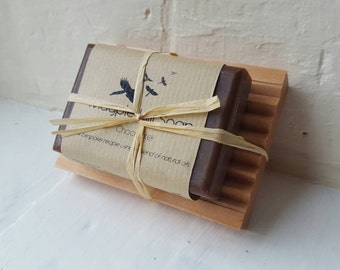 Handmade Chocolate Fragranced Soap and Dish Set. Tied with natural raffia string. Birthday present. Gift