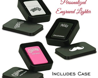 Engraved Lighter, Custom Lighter, Personalized Lighter, Cigar Lighter, Groomsman Gift, Bridesmaid Gift, Father of the Bride, Includes Case