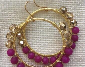 Pink Bead Hoop Earrings, Pink Hoop Earrings, Bridesmaids Earrings, Pink Dangle Earrings, Beaded Hoop Earrings