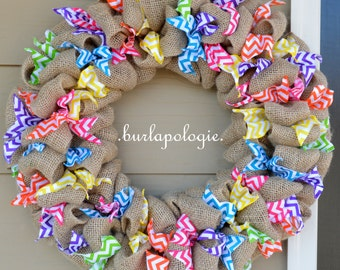 Rainbow Chevron Burlap Wreath, Multi-Colored Birthday Burlap Wreath, Party/Celebration/Holiday/Any Occassion Colorful Wreath, 19-20 Inches.
