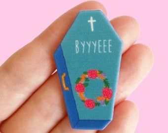 NEW! Pin // BYE // sarcastic brooch // My Favourite Murder // humour // pop culture // Introvert // colourful // statement