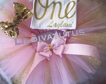 Pink and Gold One birthday tutu set - Pink and Gold first Birthday tutu set - Pink and Gold 1st Birthday tutu set- Pink and Gold tutu set