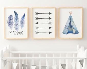 Boy Boho Nursery Print, Boy Tribal Nursery Prints, Boys Boho Wall Art Prints, Boys Personalised Wall Art, Baby Gift, Tribal Nursery