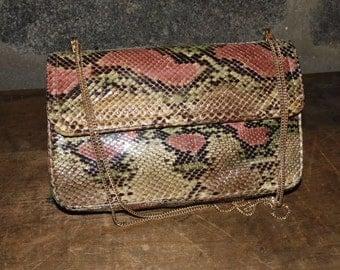 MORRIS MOSKOWITZ small chain shoulder bag genuine reptile python snakesin vintage