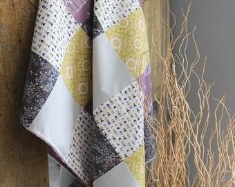 Modern Baby Quilt, baby blanket, minky blanket, purple blanket, nursery decor, crib bedding girl, dragonfly