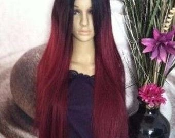 Human hair blend Ombré  black  roots to 2 shades of maroon red and black highlights lace wig ''