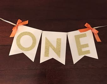 First Birthday Highchair Bunting Banner - Your Choice of Bow and Cardstock Color - Glitter Gold Highchair Banner - Number One Banner