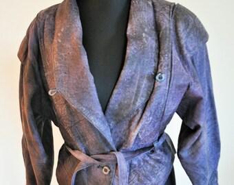 Vintage Genuine Leather Jacket / Womens / Medium / Purple / Biker / Oversize / Oversized / Roker / Cropped / Fit / Moto / Petite / Crop
