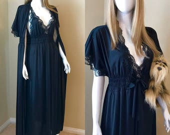 VANITY FAIR Vintage 70's Black Peignoir Set with Tags, Long Nightgown/Robe, Vintage Black Lace Negligee Set, Sexy Black Lingerie - size 34