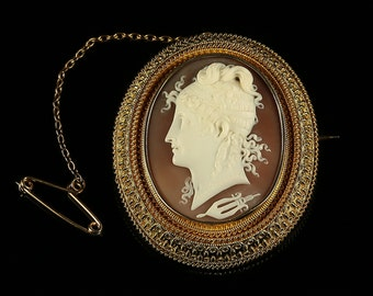Antique Gold Cameo Brooch With Locket Back 18ct Gold 1860