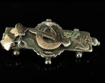 Victorian Irish Shamrock Isle of Man Gold Silver Brooch