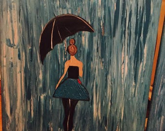 Blue umbrella, painting