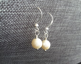 Ivory Freshwater Pearl Drops . Earrings