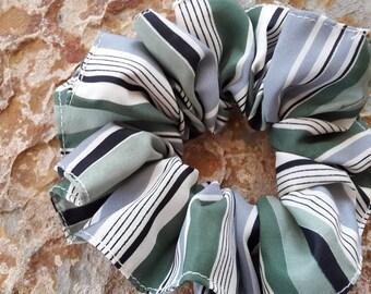 Handmade,soft,silky,crease-resistant,gray/white/cream/greens/black,striped, up hair tie/hair bun/holder/tie/scrunchie/ponytail holder/tie/